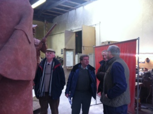 Alan Heriot the artist discussing the work with Committee members